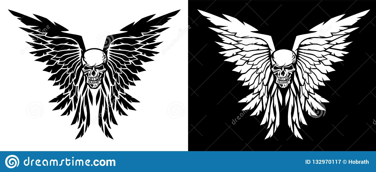 Classic skull and wings vector illustration in both black and white versions