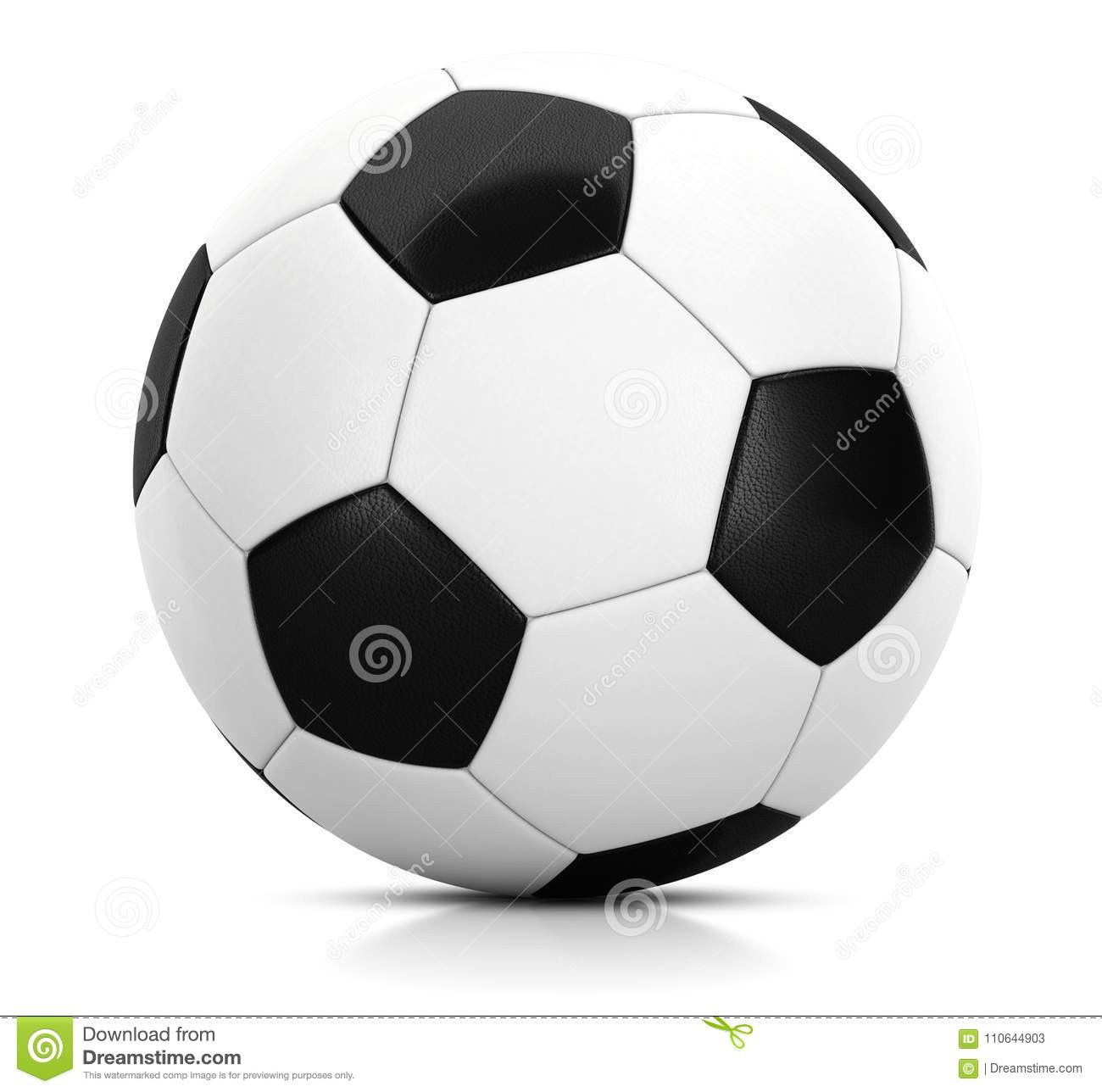 Classic soccer ball in studio with white background 3D illustration