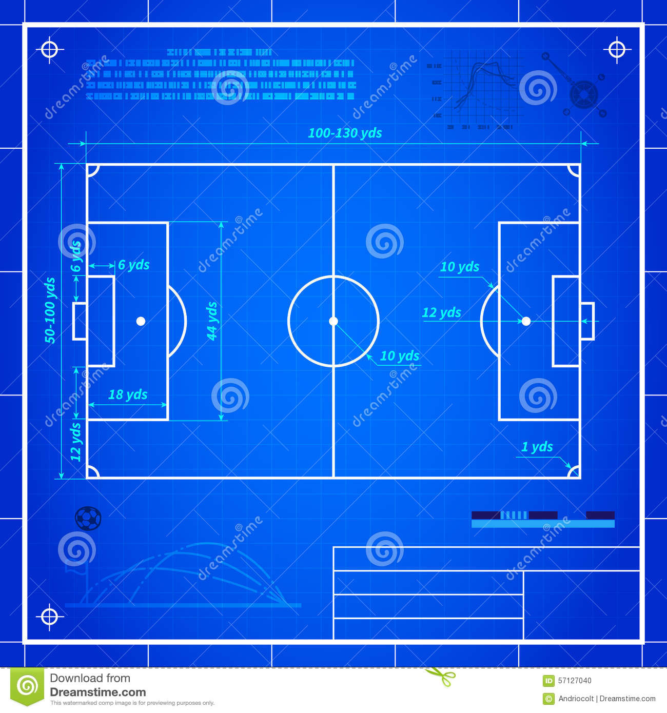 Classic Soccer Of Football Pitch Measurements Stock Vector Illustration Of Aerial Design 57127040