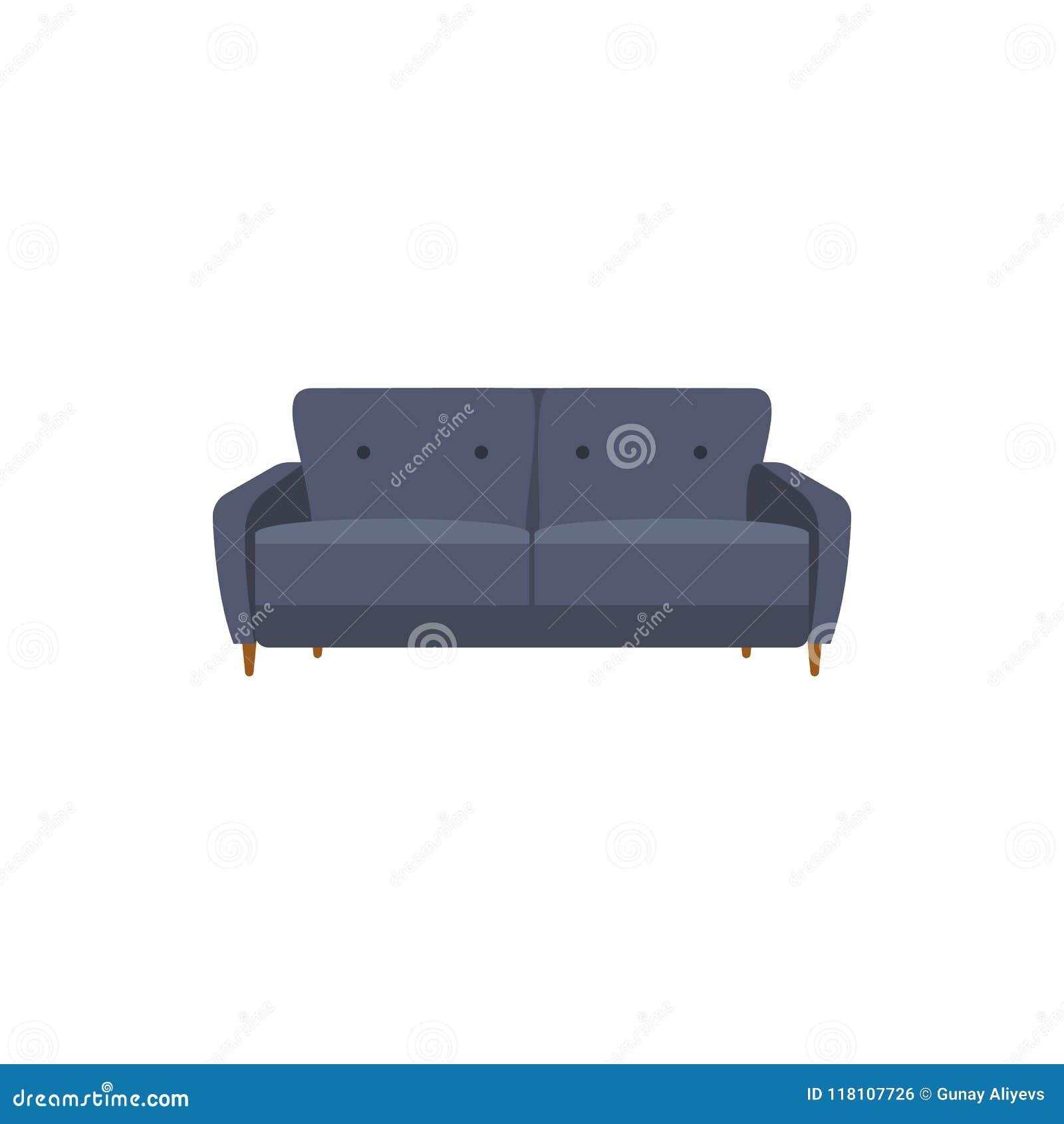 Classic Sofa Flat Icon Interior Or Room Design Template In Flat