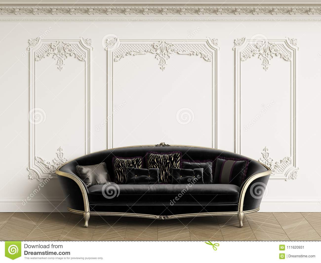 Classic Sofa In Gold And Black Colors In Classic Interior