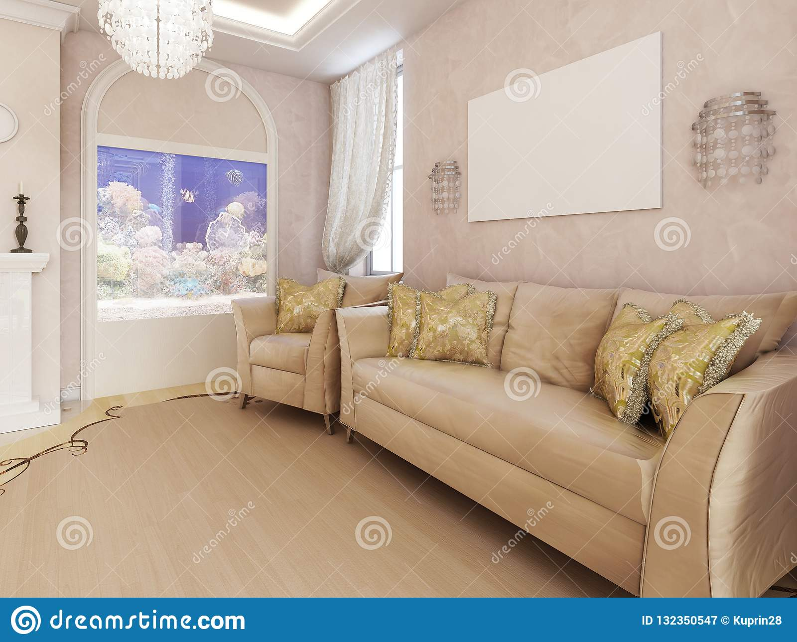Classic Soft Furniture Near The Wall In The Living Room With A