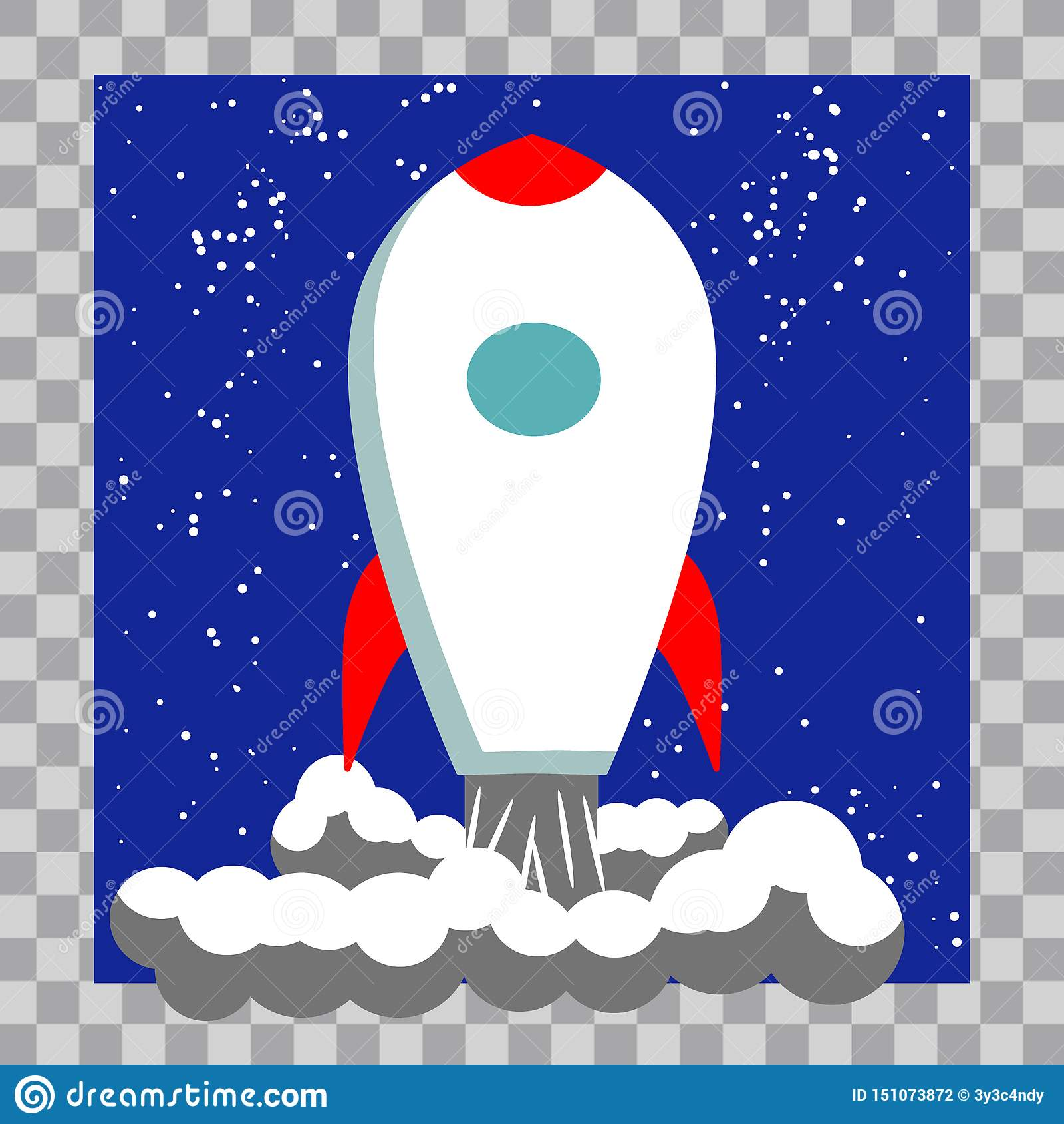 Classic Rocket Space Ship Illustration