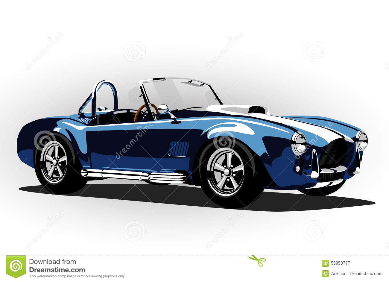 Classic Sport Car Cobra Roadster Blue Stock Vector  Image: 56850777