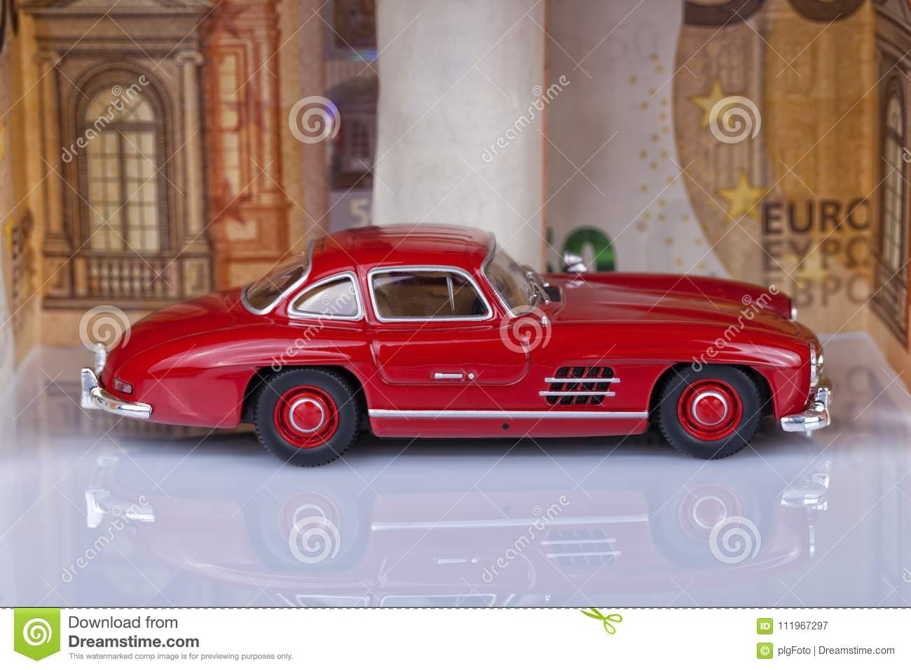 A Classic Sports Car Of The Year 1954 Of Red Color Inside A Gara ...