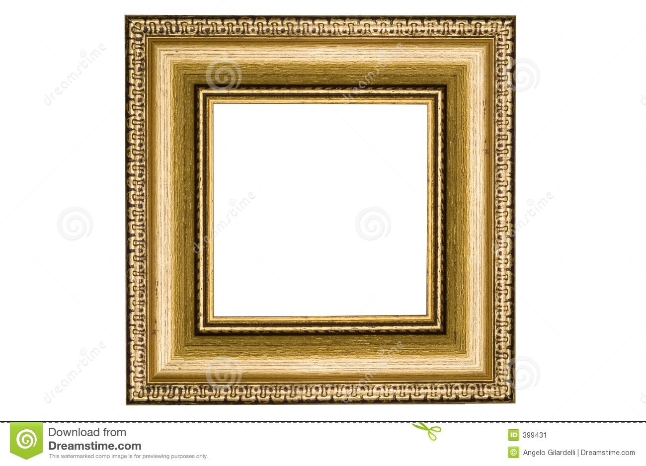 classic square golden frame stock image