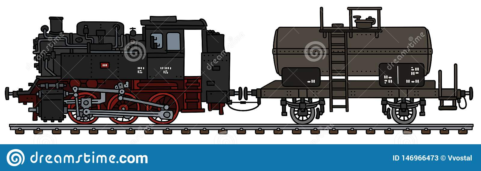The Classic Steam Locomotive And The Tank Wagon Stock Vector