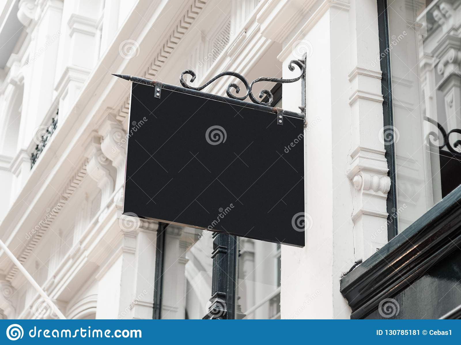 Classic style blank hanging company wall signboard mockup