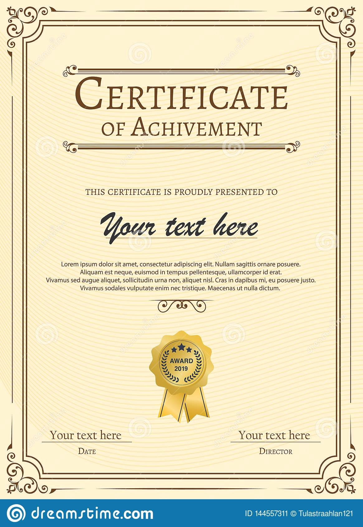 Certificate Appreciation Template With Vintage Gold