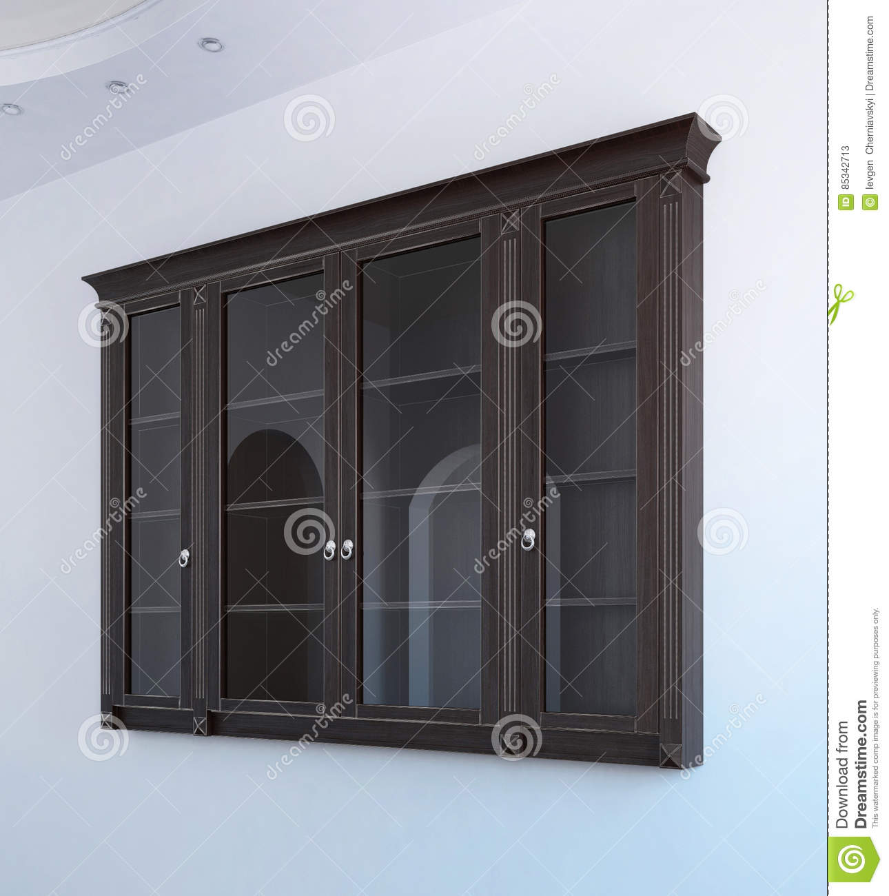 Hanging Wall Cabinet classic style hanging wall cabinet, 3d illustration stock