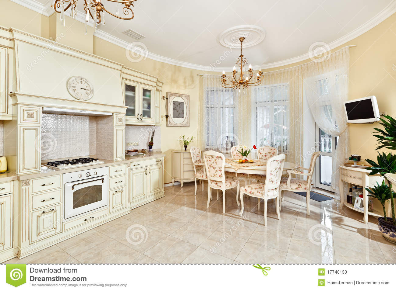 classic style kitchen and dining room interior stock photo image