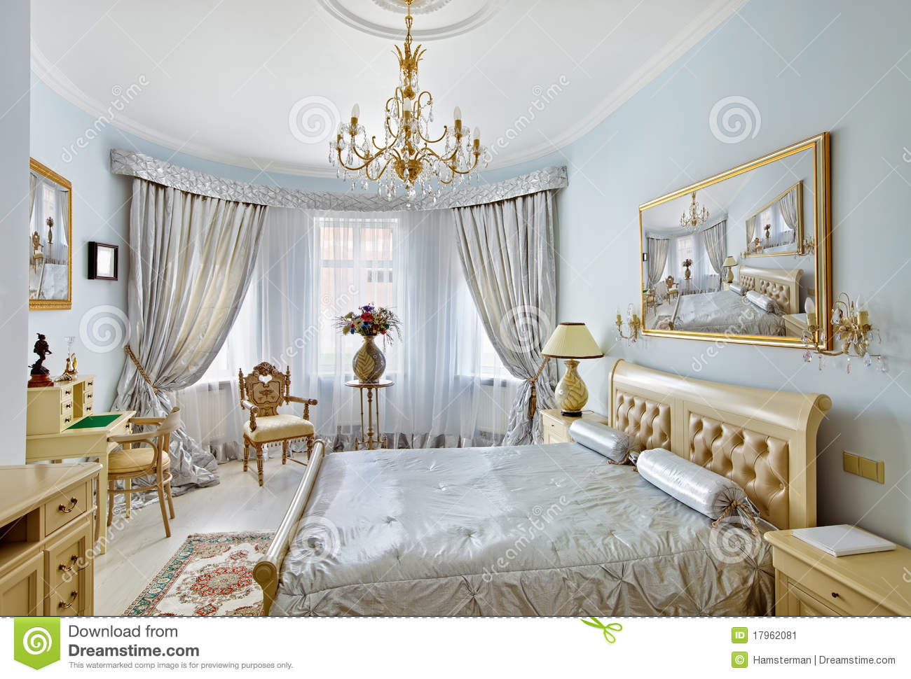 Classic Style Luxury Bedroom Interior In Blue Stock Image