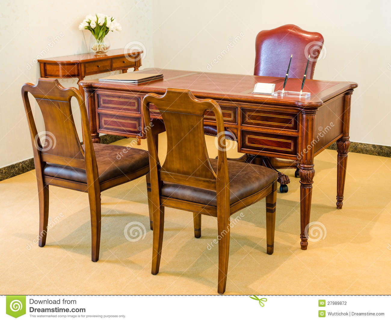 Classic style vintage wooden chair and table stock photography image