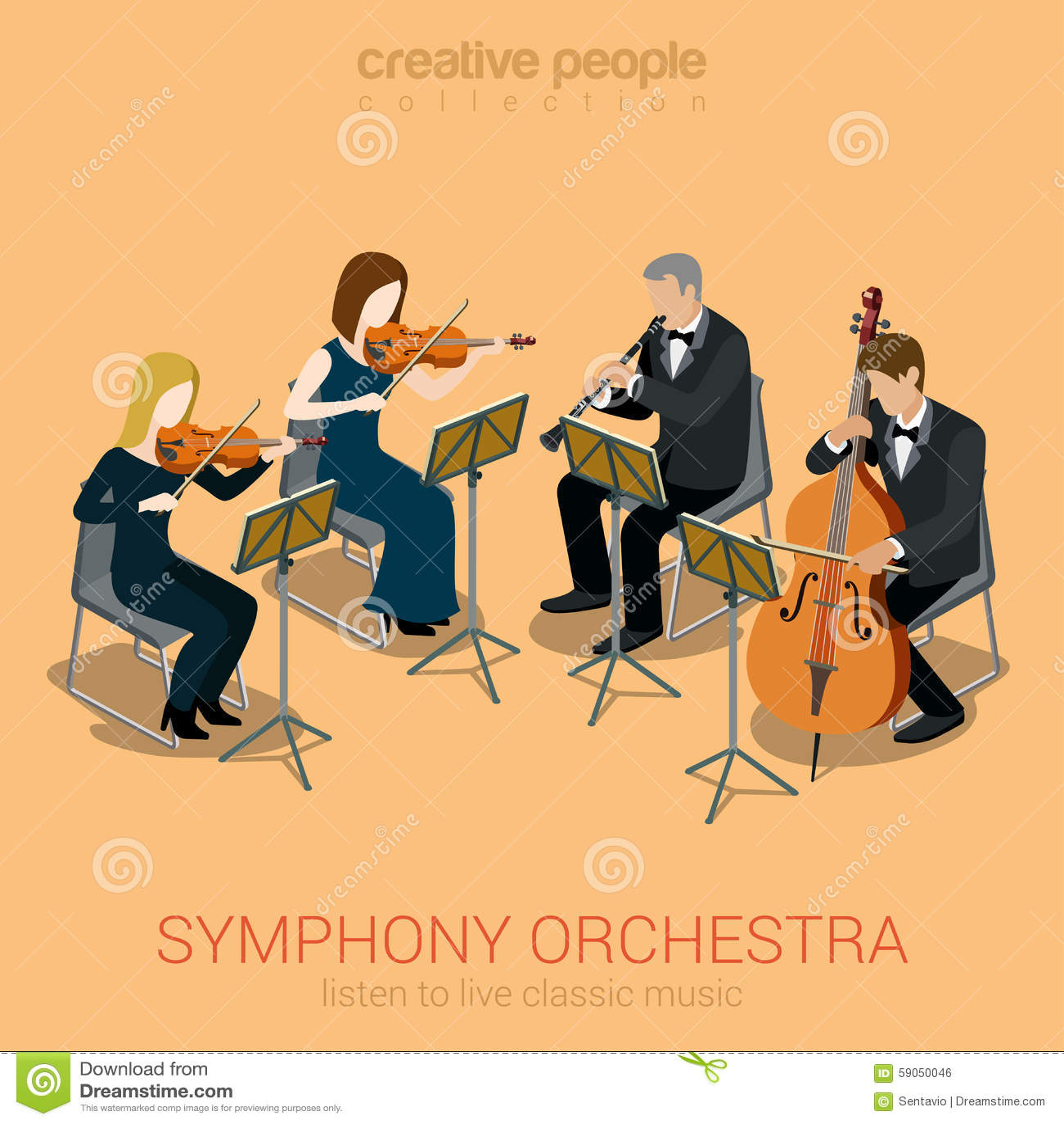 Classic Symphony Orchestra String Quartet Stock Vector