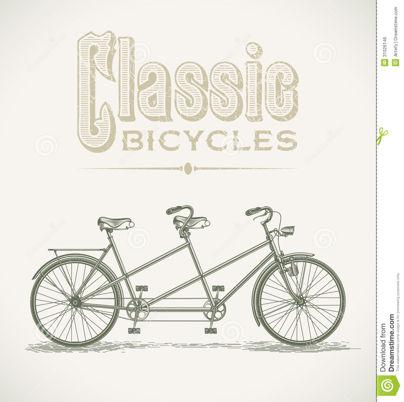 ... illustration with a classic tandem bicycle. Editable layered vector