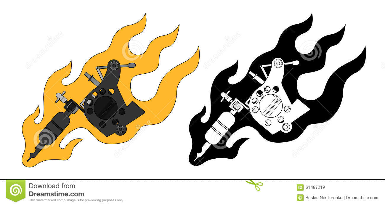 Classic Tattoo Machine In Flame Color And Stock Vector