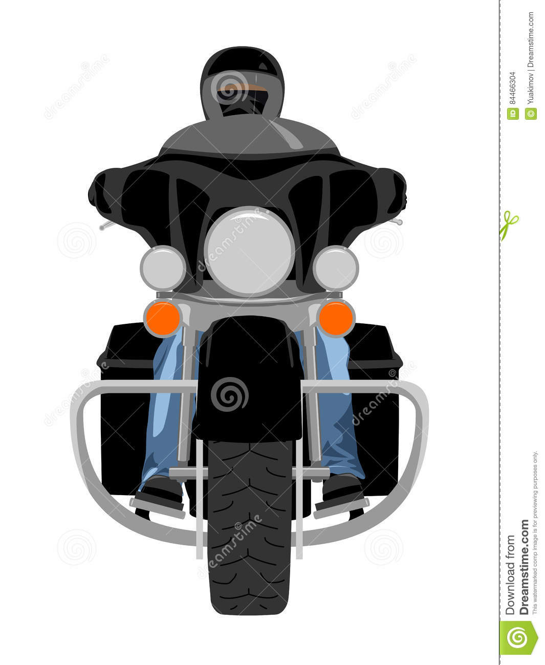 Classic Touring Motorcycle With Rider Front View Vector ...