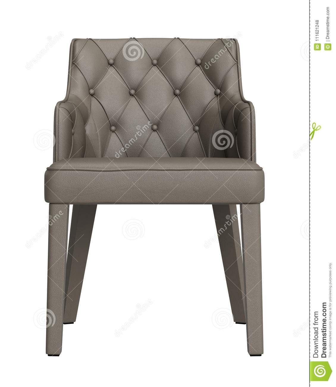 Classic Tufted Chair Isolated On White Background Brown