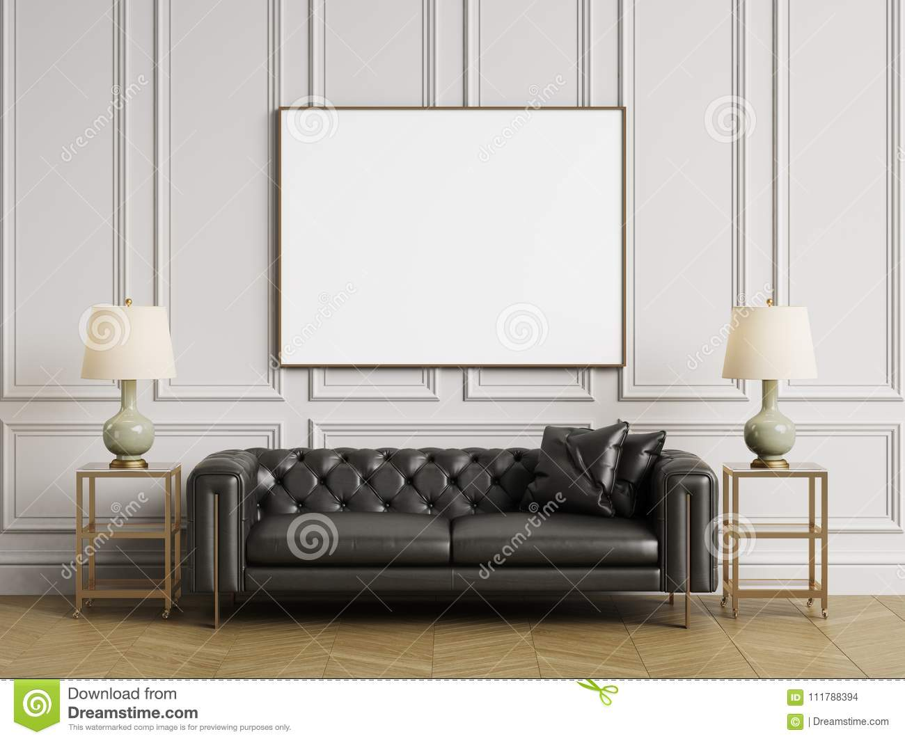 Classic Tufted Sofa Side Tables And Lamps In Classic