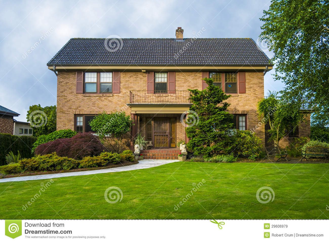 Classic Two Story Brick House Royalty Free Stock Images
