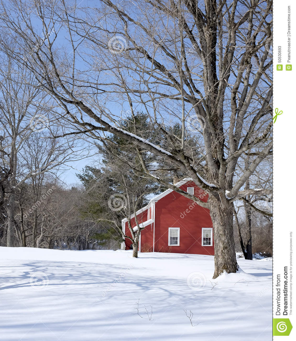 Classic vermont red house in winter stock image image of for Cost of building a house in vermont
