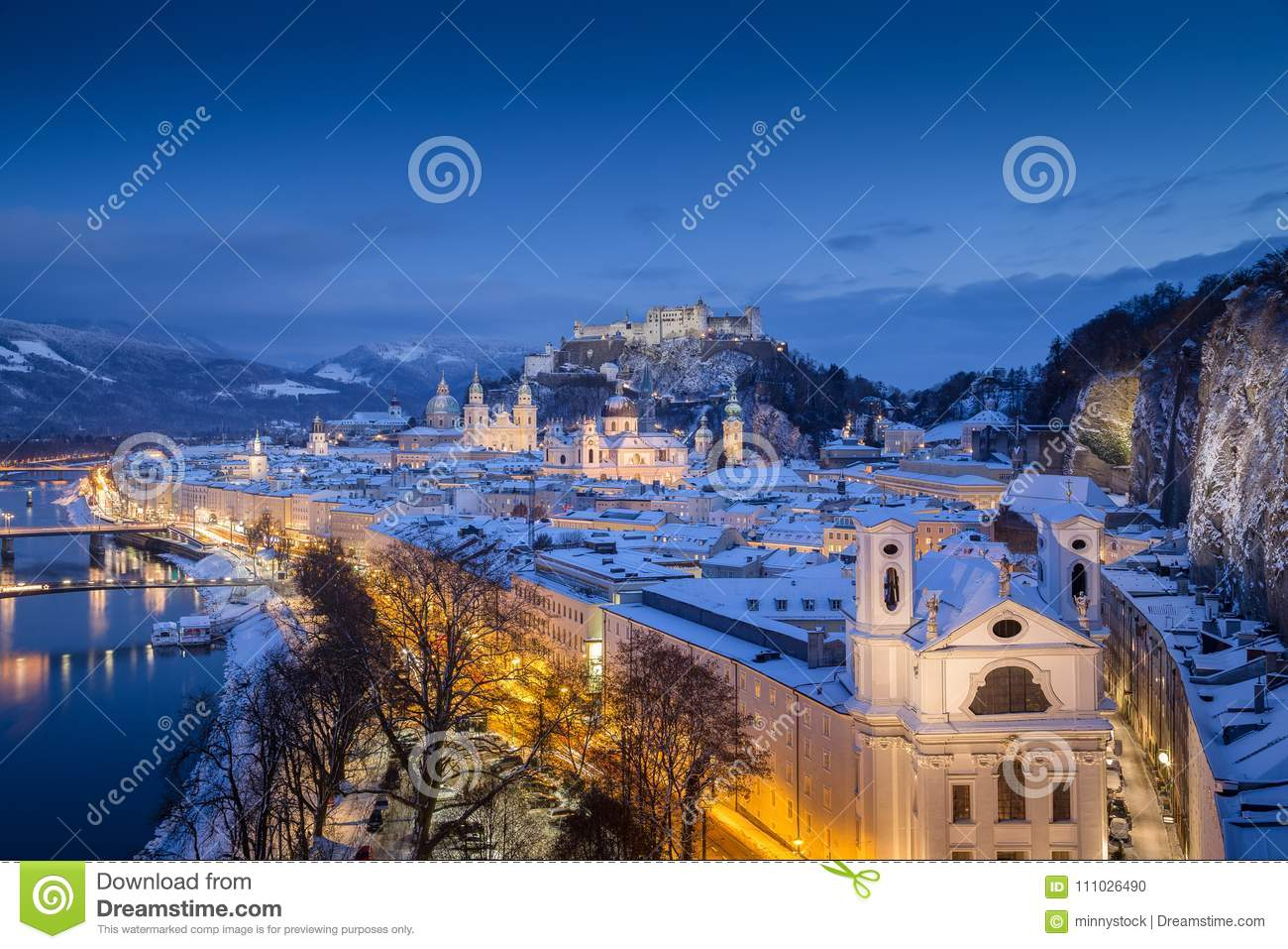 Salzburg Christmas Time.Classic View Of Salzburg At Christmas Time In Winter