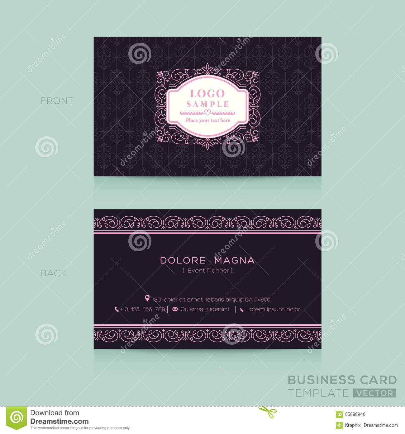Classic Vintage Business Card Namecard Template Stock ...