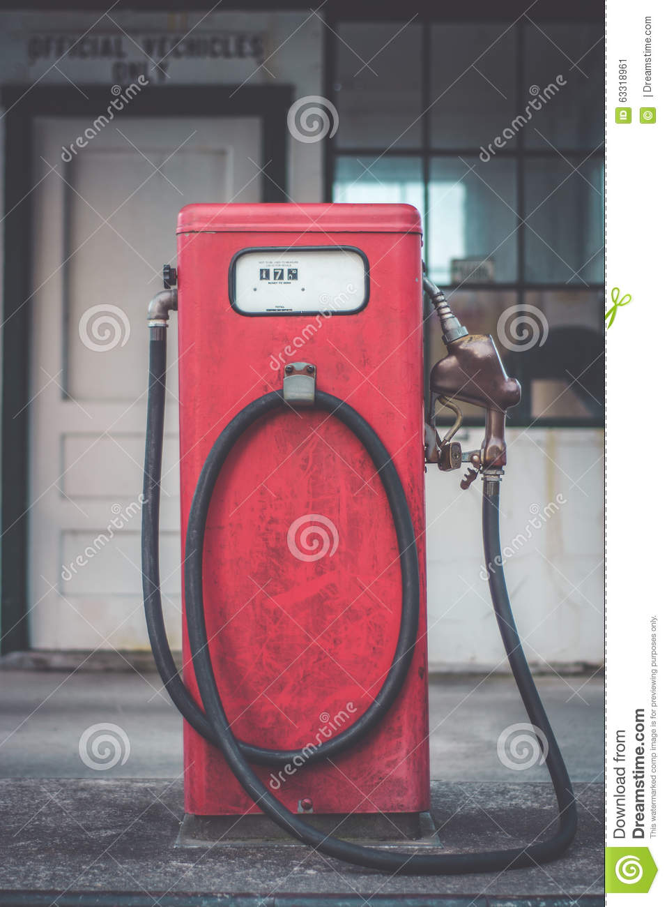 Classic Vintage Red Fuel Pumps. Stock Image - Image of nobody 72b9896ea9326