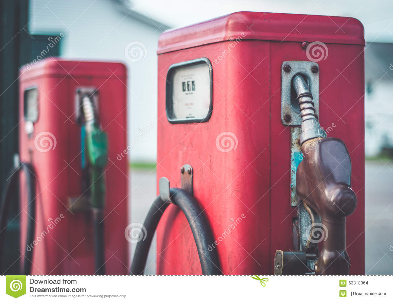 Classic Vintage Red Fuel Pumps. Stock Photo - Image of cost ... 6ad38903f3046