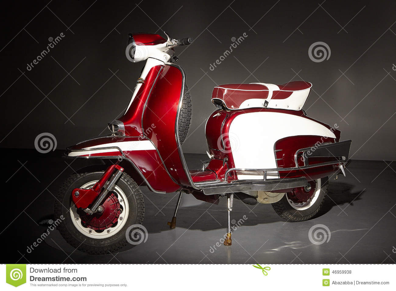 Classic Vintage Red Scooter Side View Stock Photo Image
