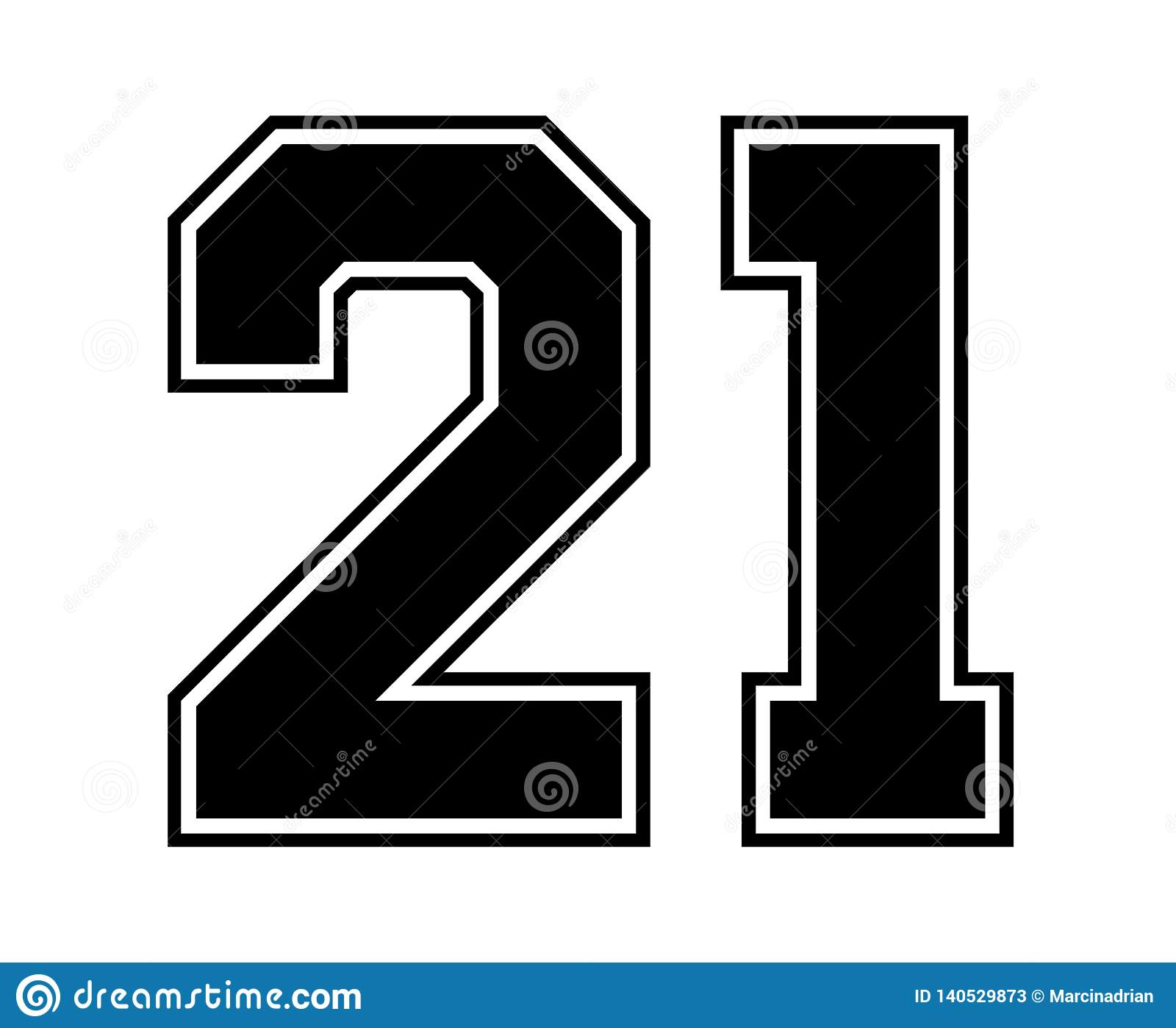 21 Classic Vintage Sport Jersey Number In Black Number On White ...