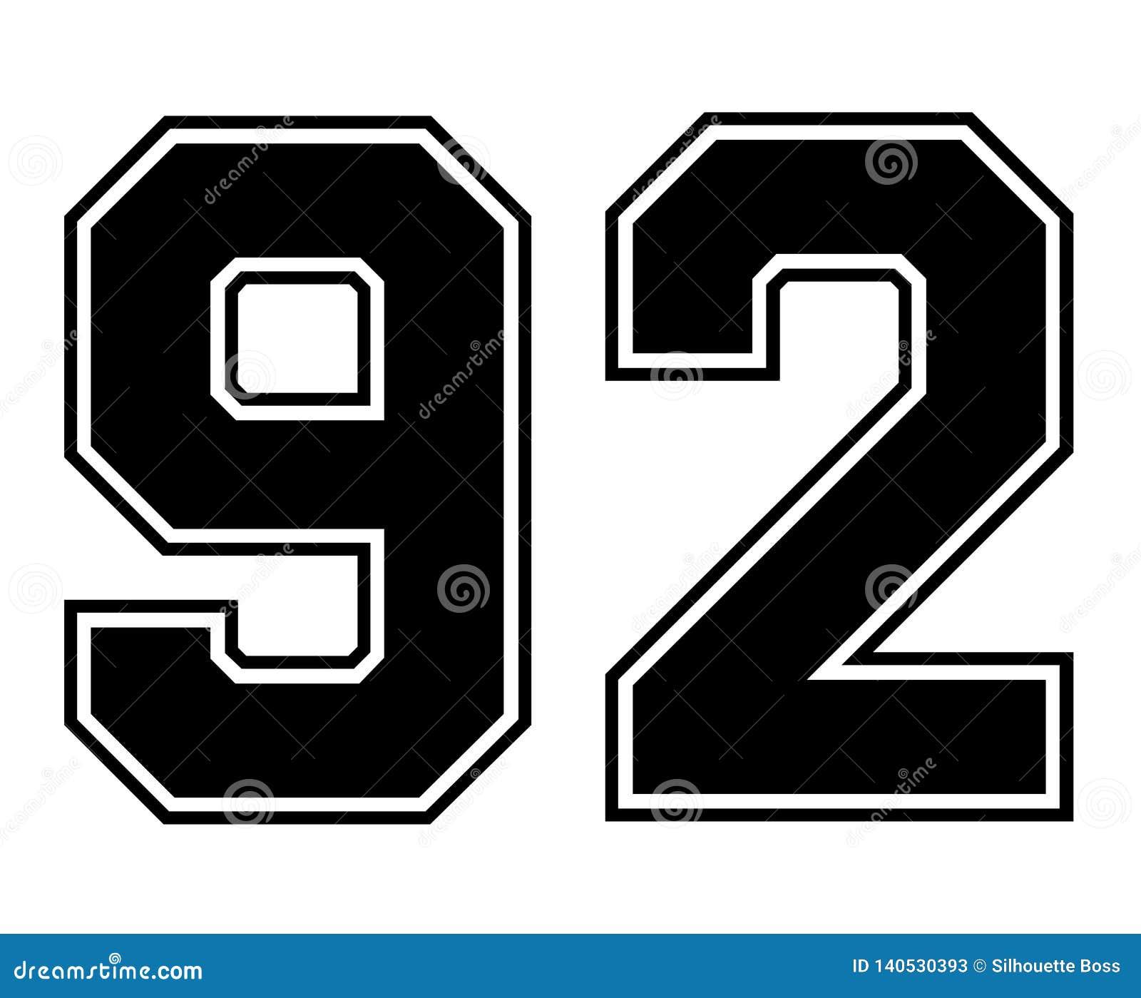 92 Classic Vintage Sport Jersey Number In Black Number On