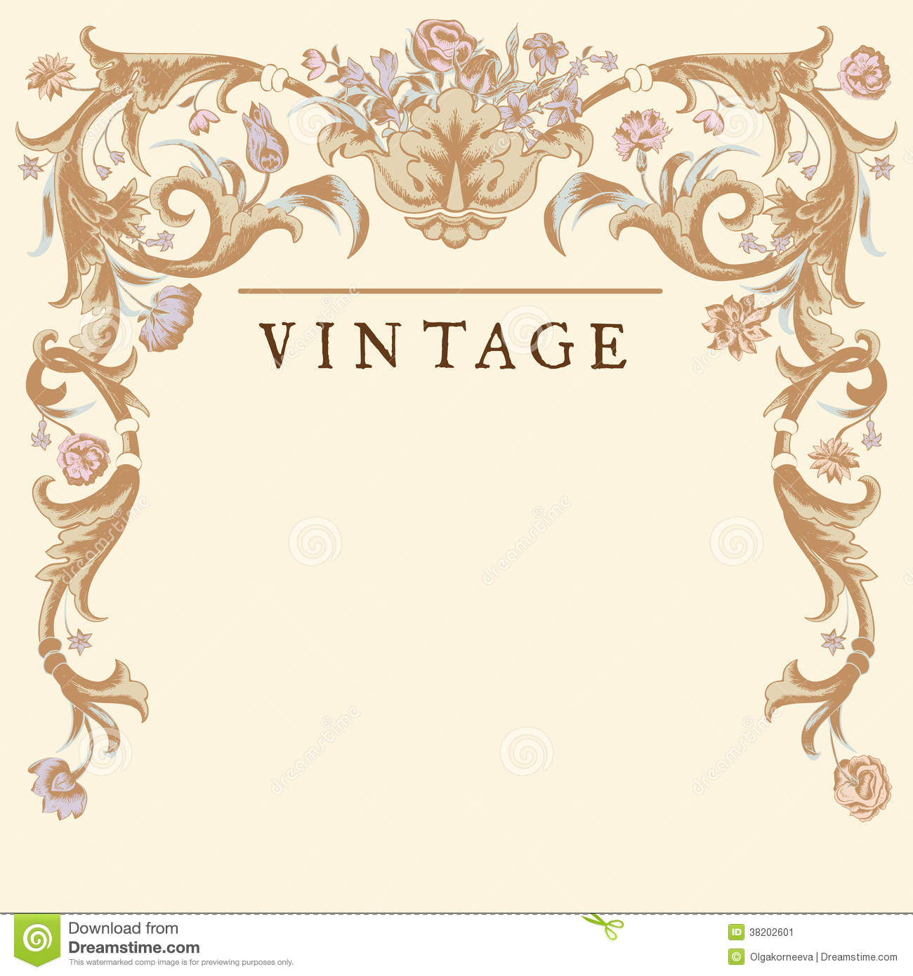 Classic Vintage Vector Frame Baroque Vase With Curls And Different
