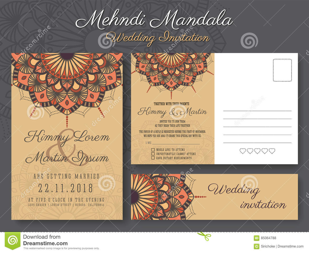 Classic Vintage Wedding Invitation Card Design Stock Vector ...