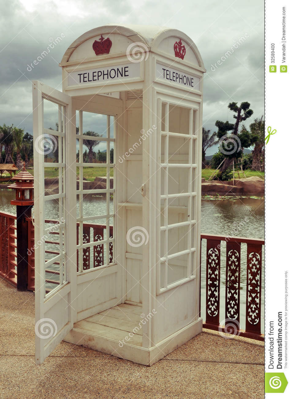 Classic Vintage White Phone Booth Stock Photo Image Of
