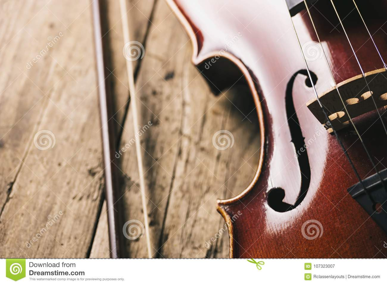 Old Violin With Bow On A Wooden Floor Stock Image Image Of
