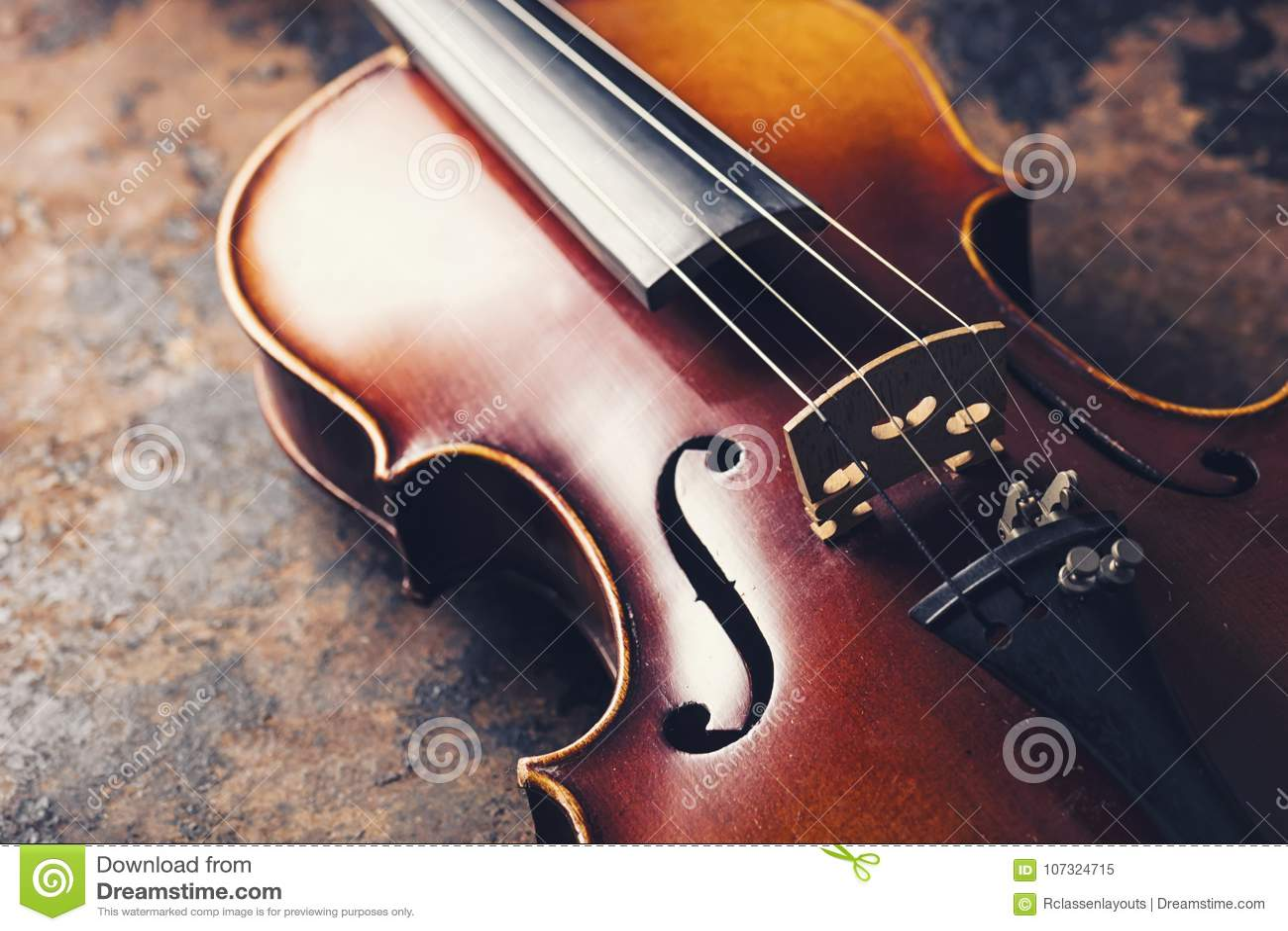 Old Antique Stradivarius Violin Stock Image - Image of