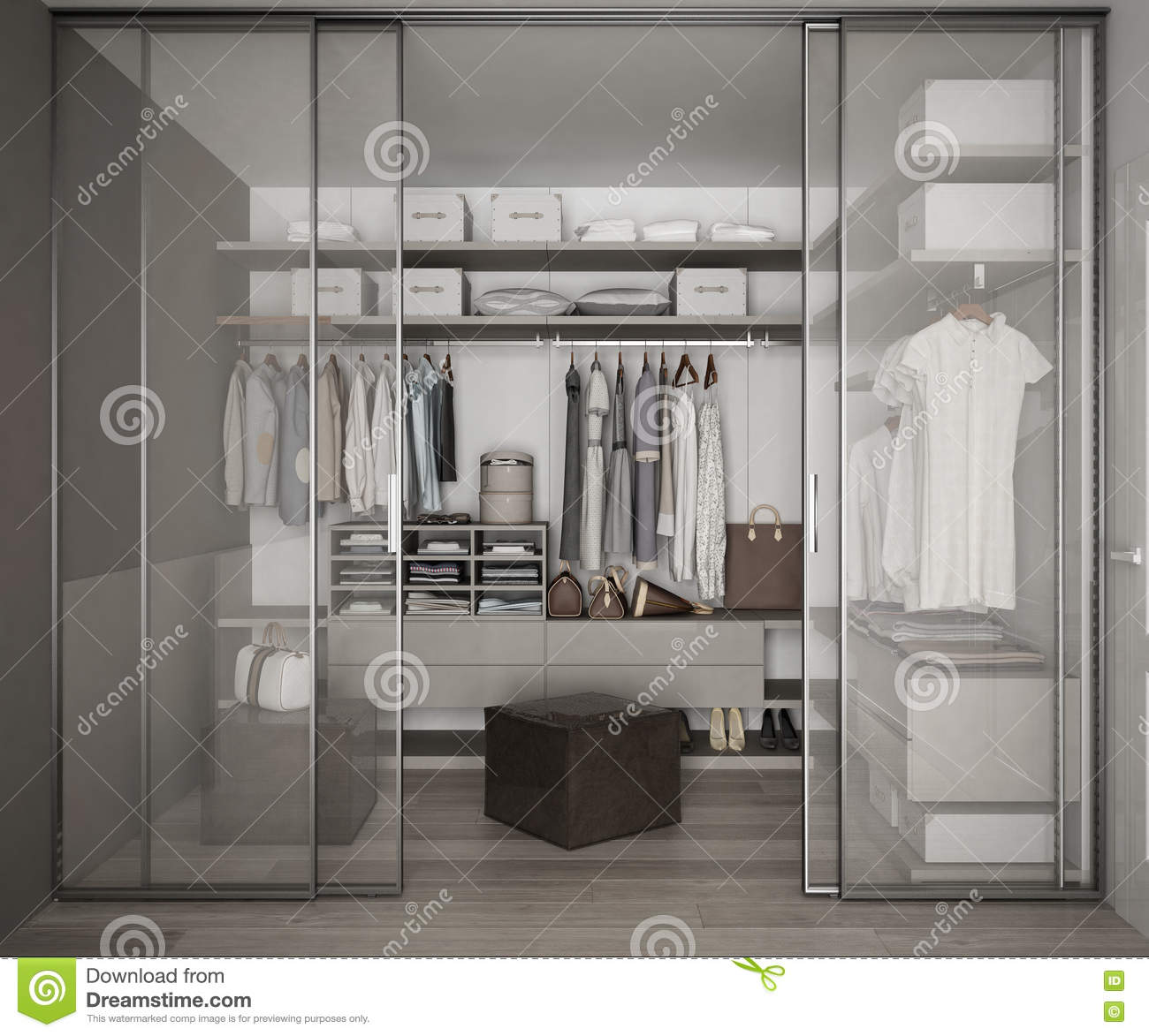 Download Classic Walk In Closet With Glass Sliding Doors Stock Illustration    Illustration Of Contemporary,