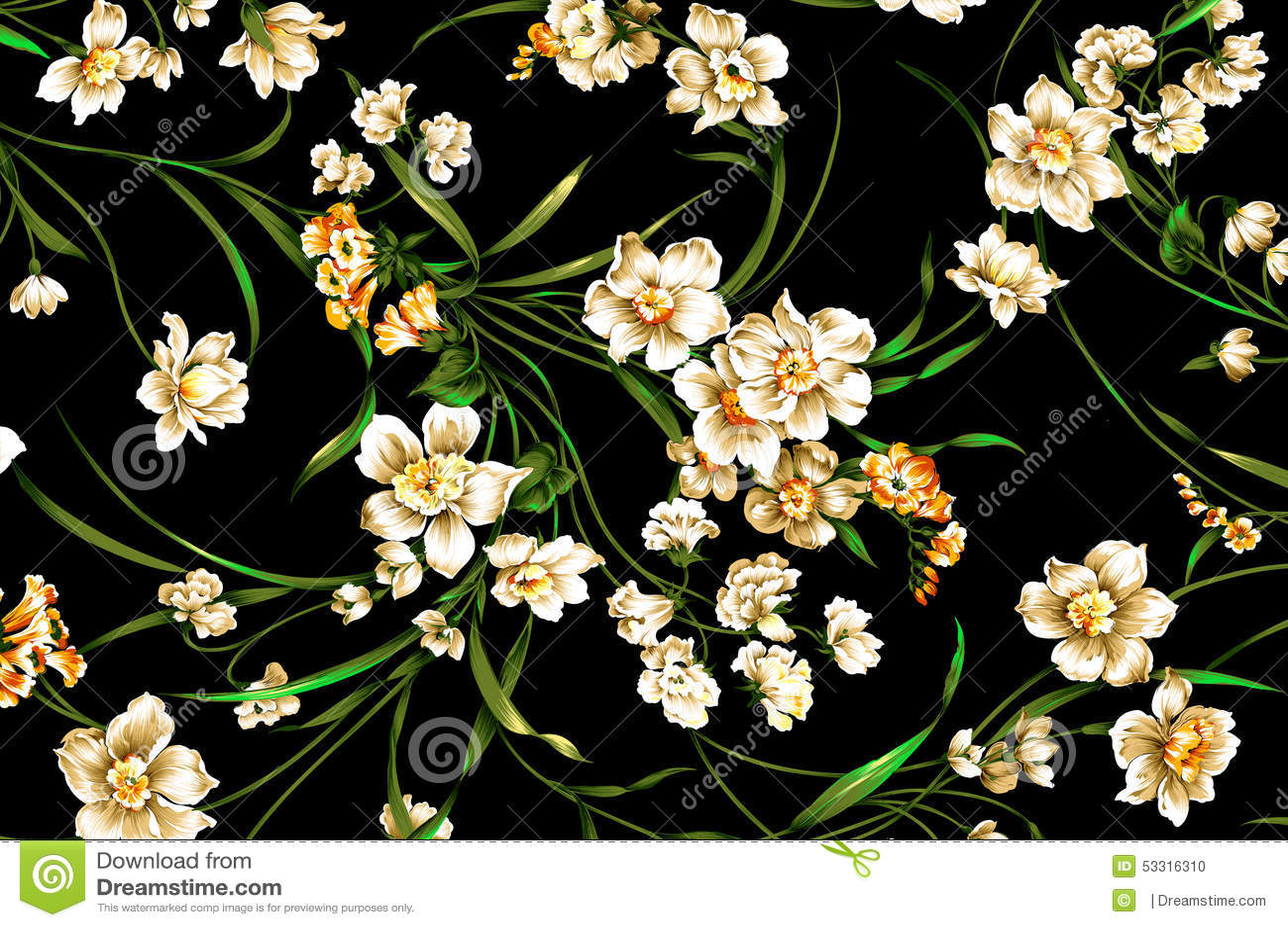 Classic Wallpaper Vintage Flower Pattern On Purple Background Design Green