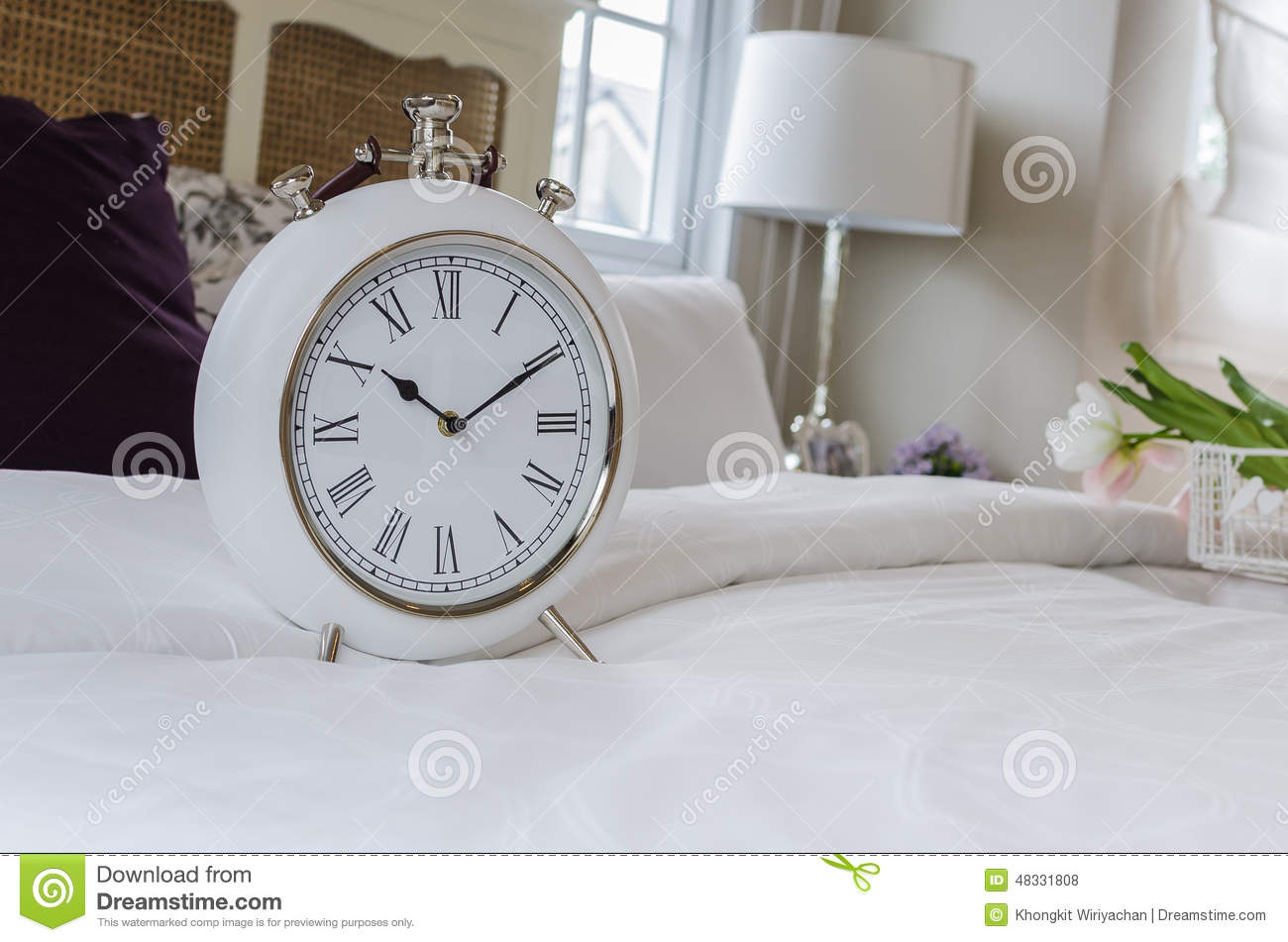 Classic White Alarm Clock Style In Classic Bedroom Stock Photo Image 48331808