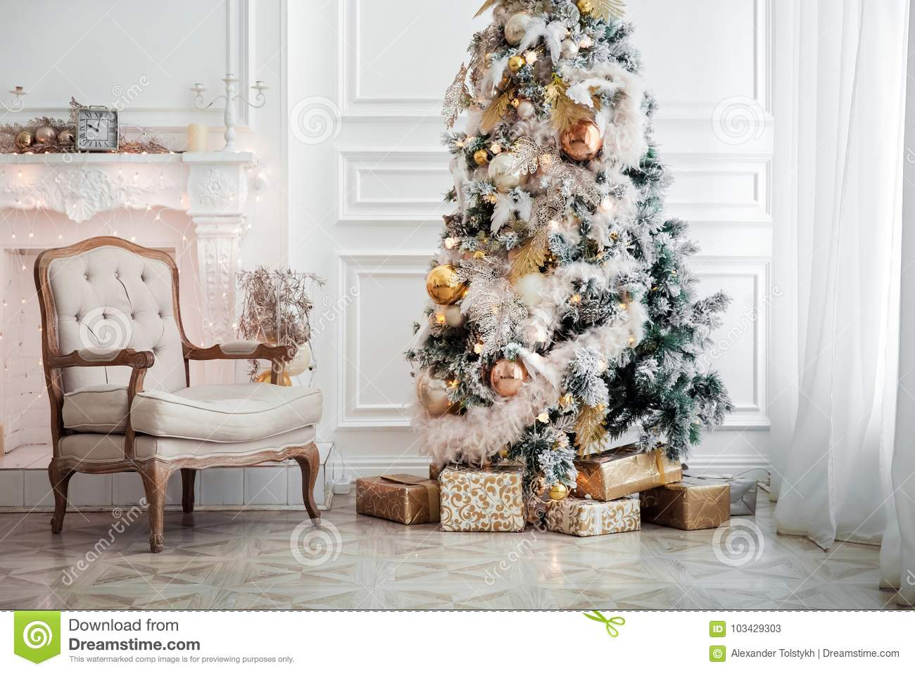 classic white christmas interior with new year tree decorated fireplace with grey chair clocks on the wall and presents under the tree