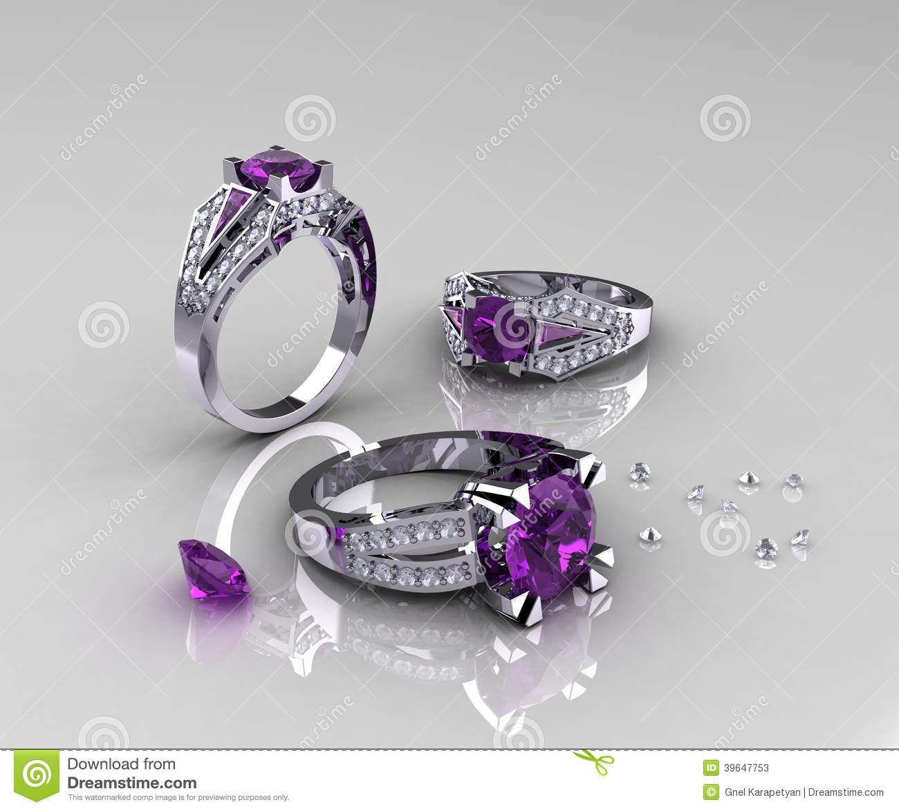 Amethyst Classic Diamond Engagement Gold Rings