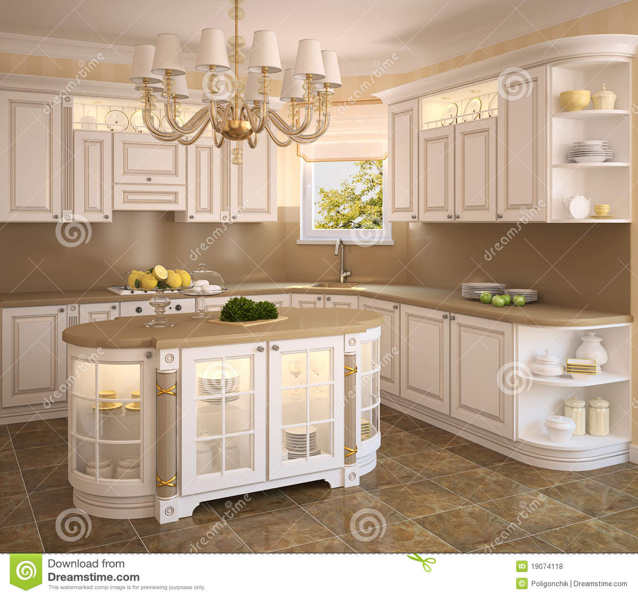 Traditional White Kitchen Design 3d Rendering: Classic White Kitchen. Stock Illustration. Illustration Of