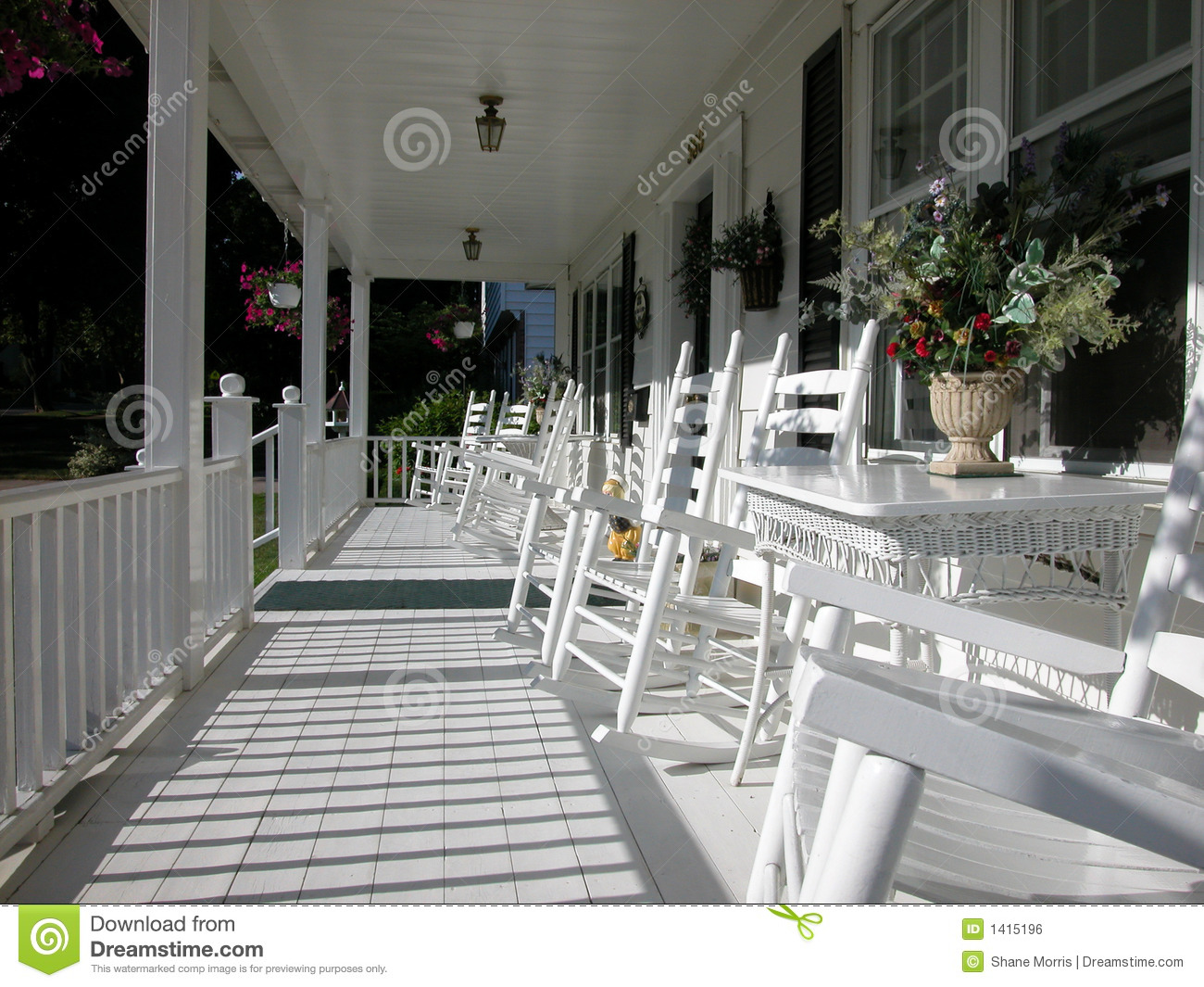 Classic White Plank Front Porch Color Stock Photo Image