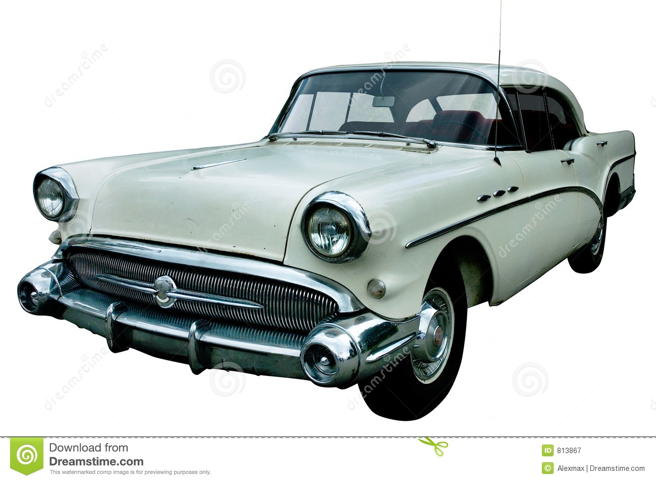 Classic White Retro Car Isolated Royalty Free Stock Photography