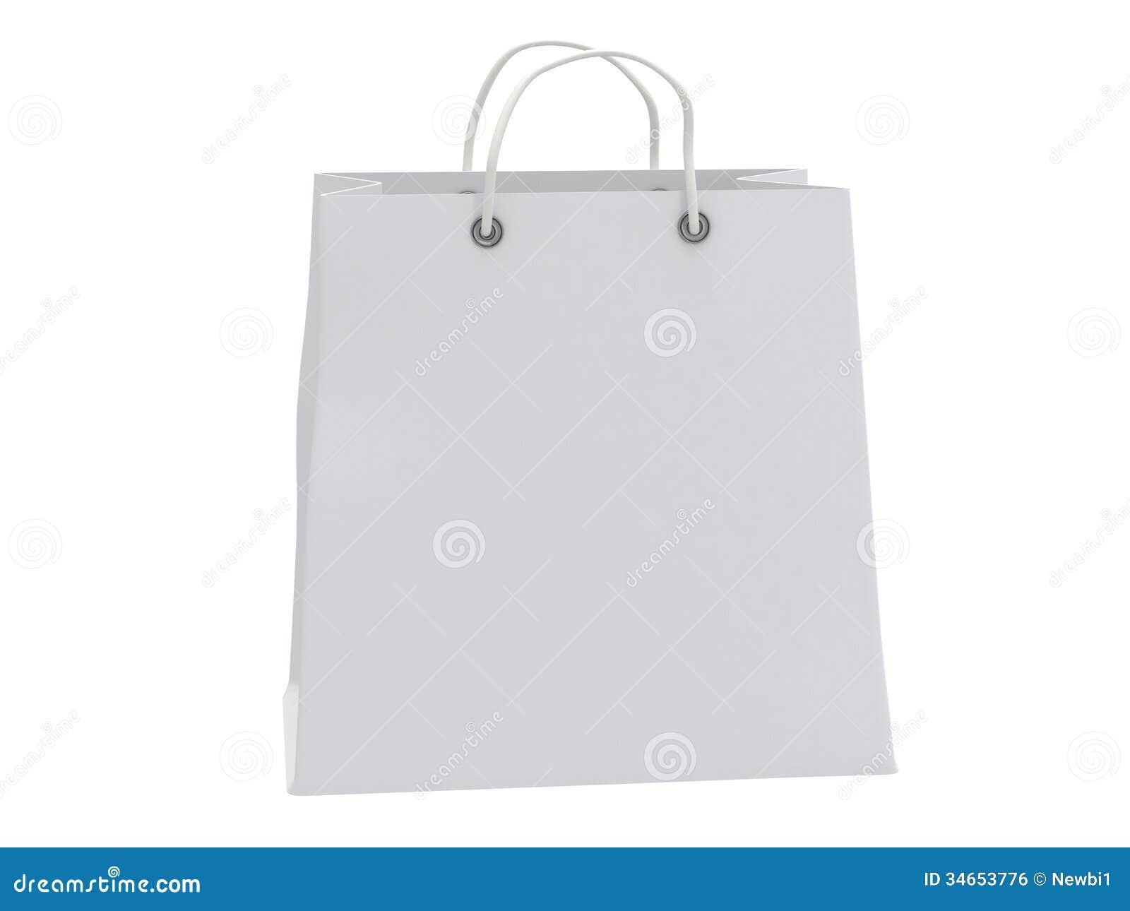 Classic White Shopping Bag (3d Render) Stock Illustration ...