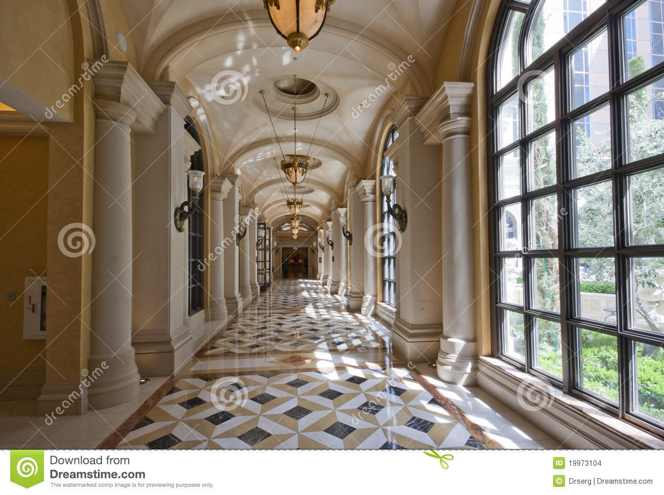 Classic Wide Corridor With Marble Floor And Carpet Stock