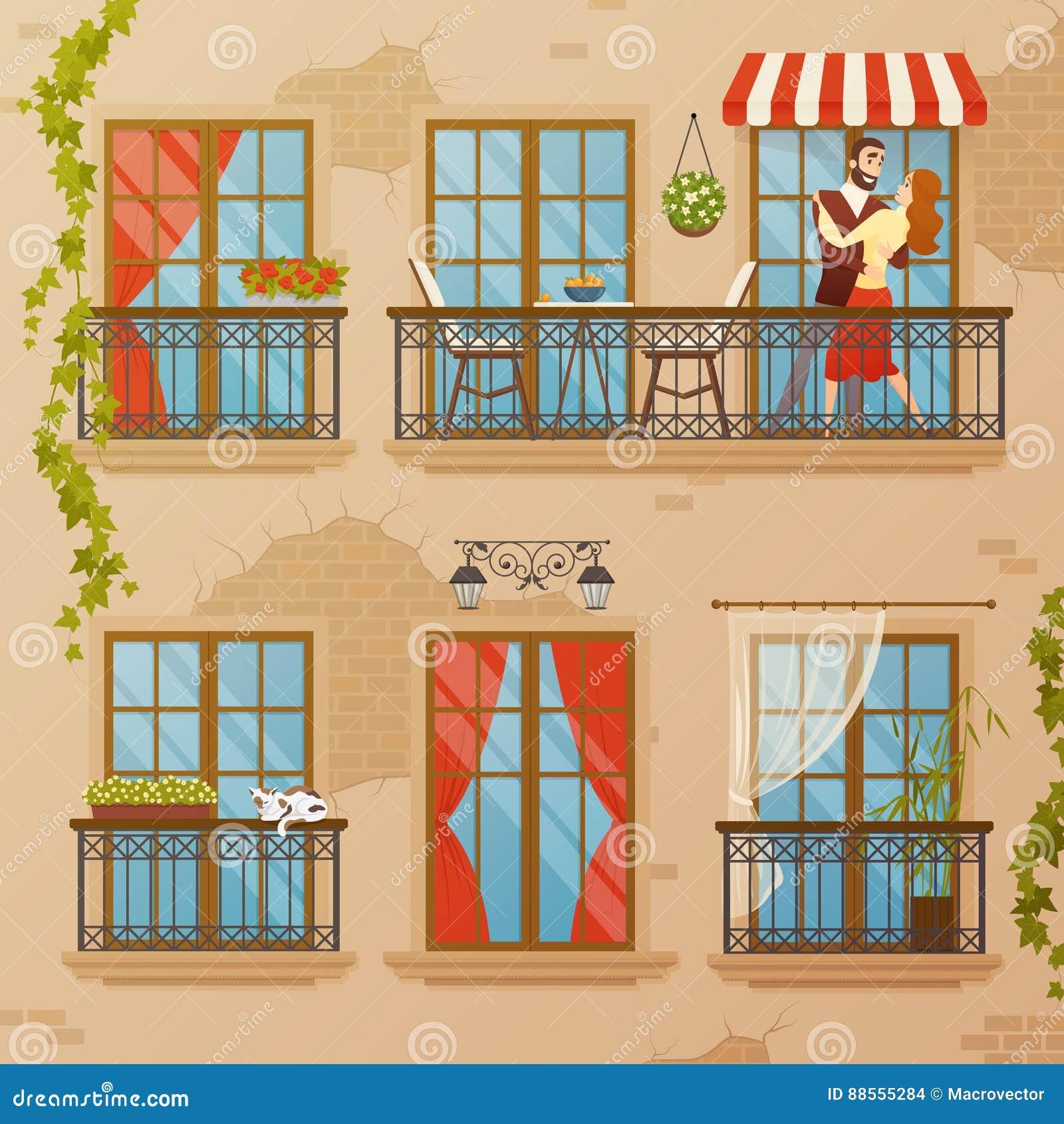 Classic Window Balconies Composition Stock Vector - Illustration of ...