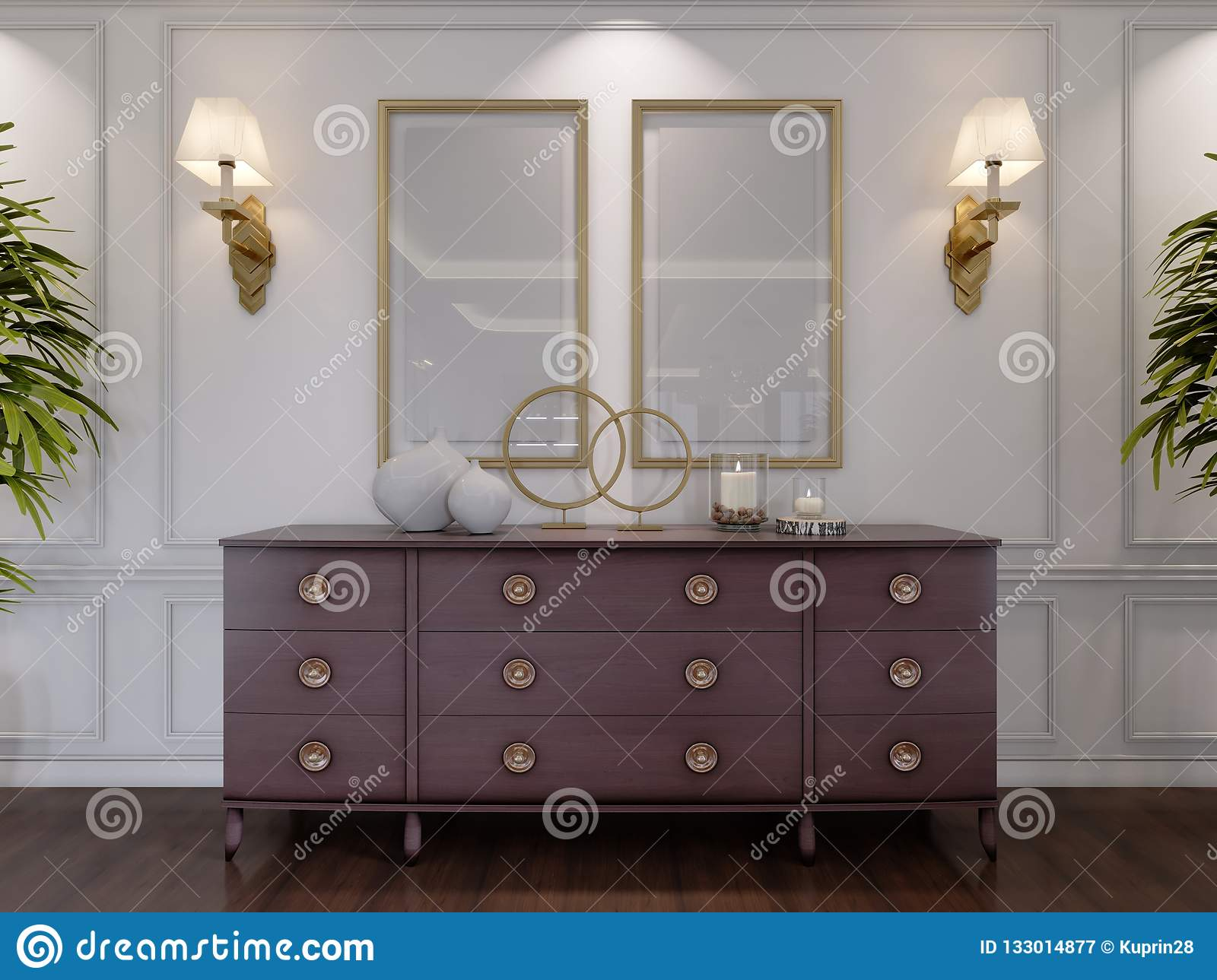 Classic Wooden Chest Of Drawers With Sliding Cabinets And ...
