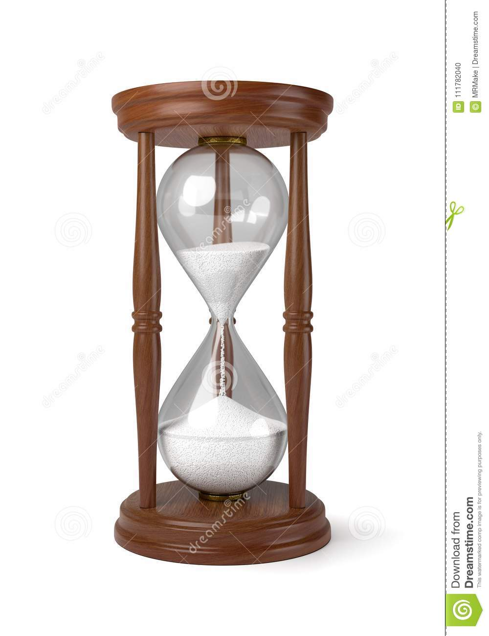 Wooden Hourglass on White Background